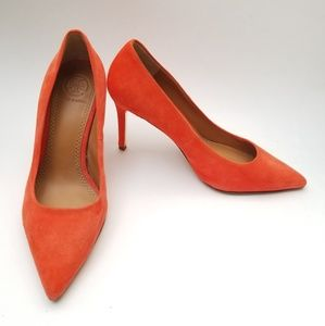 Tory Burch Elana Pumps Poppy Red 5.5 Suede Pointy